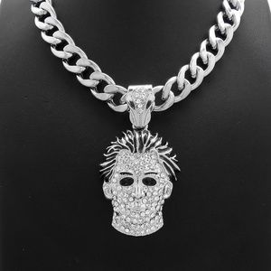 Michael Myers Mask Pendant Cuban Chain Necklace